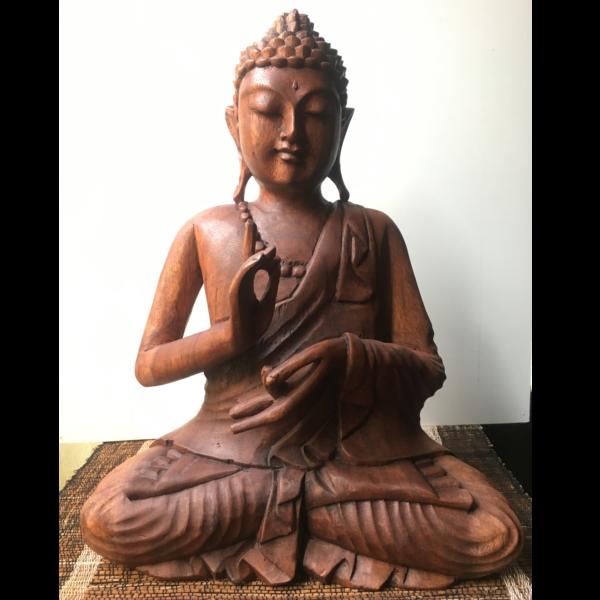 Buddha grande in legno scolpito a mano