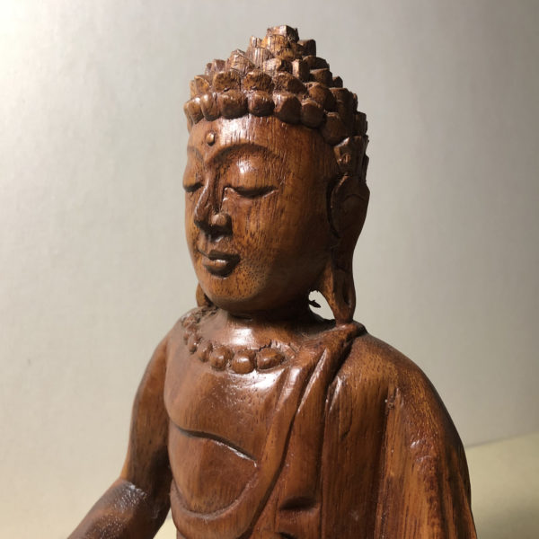 Statuetta Buddha artigianale legno di Suar