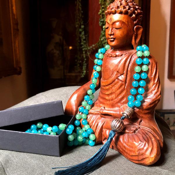 Buddha legno e japamala giada